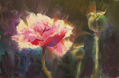 Ruffles Painting - Poppy Glow by Karen Whitworth