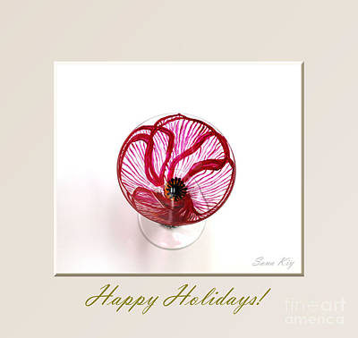 Glass Art - Poppy. Happy Holidays by Oksana Semenchenko