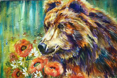 Poppy Mountain Bear Art Print by P Maure Bausch