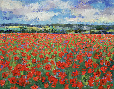 Impressionistic Landscape Painting - Poppy Painting by Michael Creese