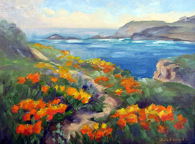 Iconic Painting - Poppy Path Pt. Lobos  by Karin  Leonard