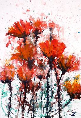 Painting - Poppy Splashes by Zaira Dzhaubaeva