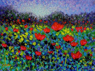 Irish Painting - Poppy Vista by John  Nolan