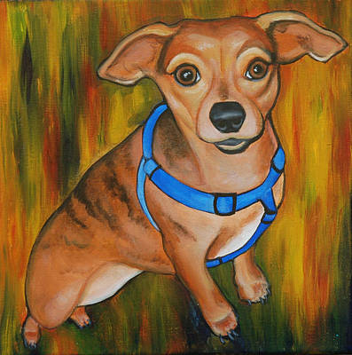 Chihuahua Abstract Art Painting - Poppy's Baby by Lauren Hammack