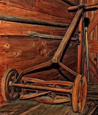 Shed Painting - Pop's Old Mower by Michael Pickett
