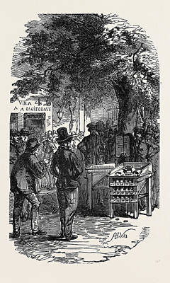 Popular Culture Drawing - Popular Amusements Of Paris Exterior Of A Cheap Wine Shop by English School