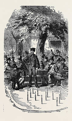 Popular Culture Drawing - Popular Amusements Of Paris Skittles At The Barrier by English School