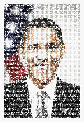 Politicians Paintings - Popular President Obama Typography Portrait by Celestial Images