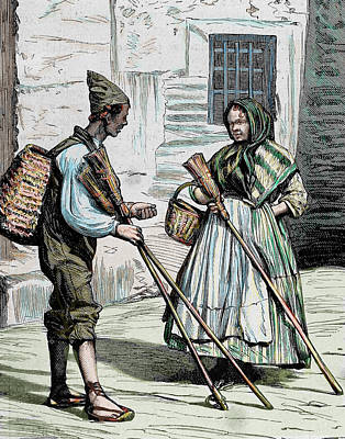Street Vendors Photograph - Popular Types Sellers Of Brooms by Prisma Archivo