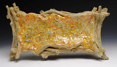 A Fish Out Of Water Sculpture - Porcelain Leaf Tray With Driftwood   by Mark Chuck