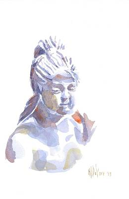 Porcelain Maiden In Watercolor Art Print