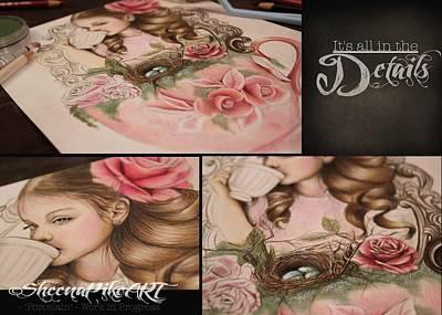 Rosebud Drawing - Porcelain - Work In Progress by Sheena Pike