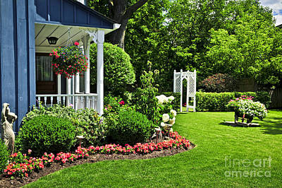 Flower Planter Photograph - Porch And Garden by Elena Elisseeva