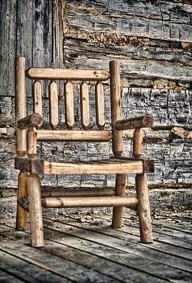 Log Cabin Photograph - Porch Chair by Heather Applegate