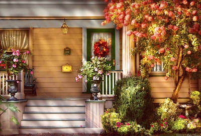 Porch - Cranford Nj - Simply Pink Art Print by Mike Savad