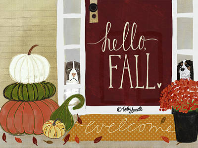 Pumpkins Painting - Porch by Katie Doucette