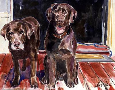 Chocolate Labrador Retriever Painting - Porch Light by Molly Poole