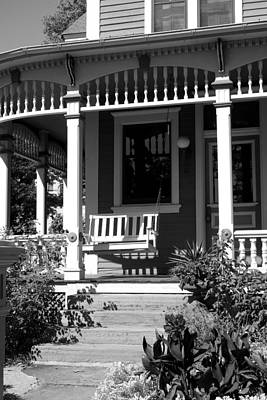 Photograph - Porch Swing In Black And White by Ann Powell