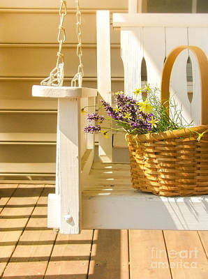 Basket Photograph - Porch Swing With Flowers by Diane Diederich