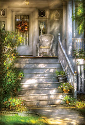 Rocking Chairs Photograph - Porch - Westfield Nj - Grannies Porch  by Mike Savad