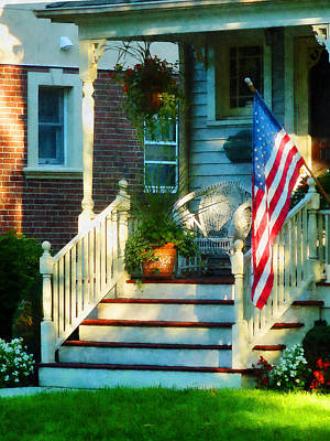 Photograph - Porch With American Flag by Susan Savad