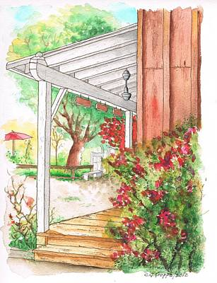 Dibujos Painting - Porch With Flowers In Calabazas - California by Carlos G Groppa