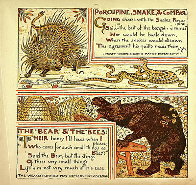 Porcupine Snake And Company The Bear And The Bees Art Print