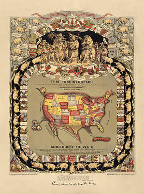 1876 Drawing - Pork Map Of The United States From 1876 by Blue Monocle