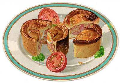 Tomato Drawing - Pork Pie On A Plate          Date Circa by Mary Evans Picture Library