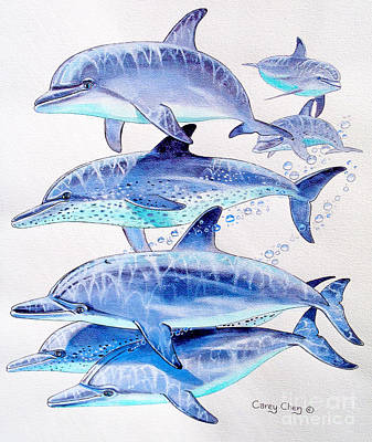 Tropical Fish Painting - Porpoise Play by Carey Chen