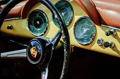 Photograph - Porsche 1600 Super Convertible Steering Wheel Emblem -1729bw by Jill Reger