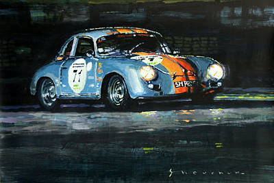 Art Paper Painting - Porsche 356 A 1959 Le Mans Classic 2010 by Yuriy Shevchuk