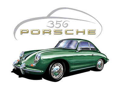 Porsche 356 Coupe Green  Art Print by David Kyte
