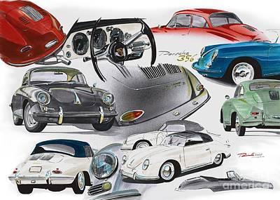 Sportscar Drawing - Porsche 356 History by Reinhold Fine Art