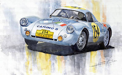 Hall Painting - Porsche 550 Coupe 154 Carrera Panamericana 1953 by Yuriy  Shevchuk
