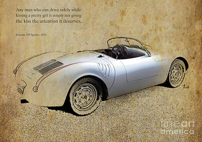 Actors Royalty-Free and Rights-Managed Images - Porsche 550 Spyder 1953 by Drawspots Illustrations