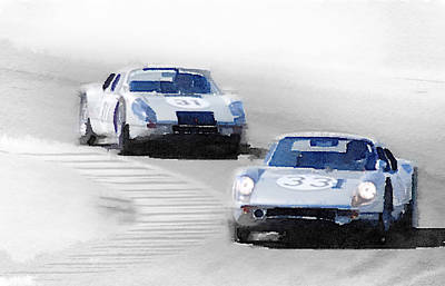 Vintage Car Painting - Porsche 904 Racing Watercolor by Naxart Studio