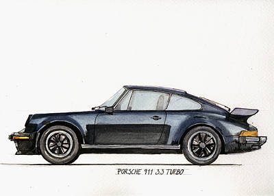 Watercolor Sports Painting - Porsche 911 930 Turbo by Juan  Bosco