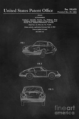 Transportation Royalty-Free and Rights-Managed Images - Porsche 911 Carrera 1964 Patent Art  by Edward Fielding