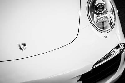 Porsche Carrera Photograph - Porsche 911 Carrera S Hood Emblem -0031bw by Jill Reger