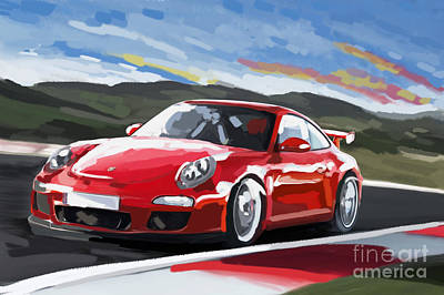Porsche 911 Gt3 Impressionist Art Print by Tim Gilliland