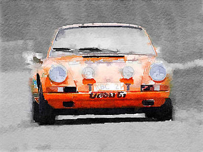 European Cars Mixed Media - Porsche 911 Race Track Watercolor by Naxart Studio