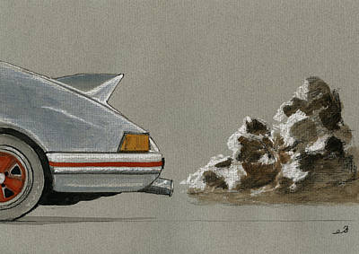 Exhausted Painting - Porsche 911 Rs Classic 2 7 White by Juan  Bosco