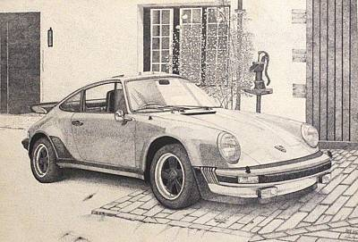 Miguel Art Drawing - Porsche 911 Turbo Carrera by Roland Miguel