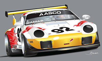 Laguna Seca Digital Art - Porsche 911 Turbo Custom by Alain Jamar