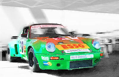 European Cars Mixed Media - Porsche 911 Turbo Watercolor by Naxart Studio