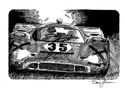Illustration Drawing - Porsche 917 Longtail by David Lloyd Glover