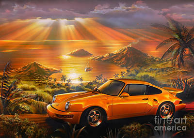 Orange Style Digital Art - Porsche Beach by Adrian Chesterman