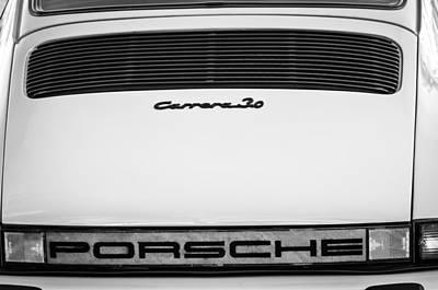Photograph - Porsche Carrera 3.0 Taillight Emblem -0024bw by Jill Reger