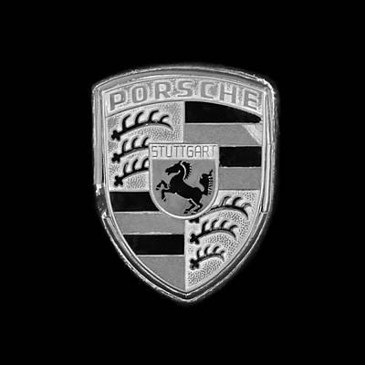 Photograph - Porsche Emblem -0179bw55 by Jill Reger